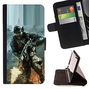 BullDog Case - FOR/Sony Xperia Z2 D6502 / - / Soldier Game /- Monedero de cuero de la PU Llevar cubierta de la caja con el ID Credit Card Slots Flip funda de cuer