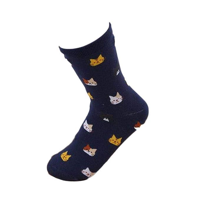 Skipo Mujeres estándar lindo patrón de gato elástico atlético calcetines medios casuales Calcetines: Amazon.es: Ropa y accesorios