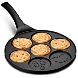 Gourmia GPA9540 Smiley Face Pancake Pan – Fun 7 Emoji Mini Pancake and Flapjack Maker – Die Cast Aluminum, Double Layer Nonstick Coating – Cool-to-Touch Handle (7 Mold Emoji Disgen, Standard)