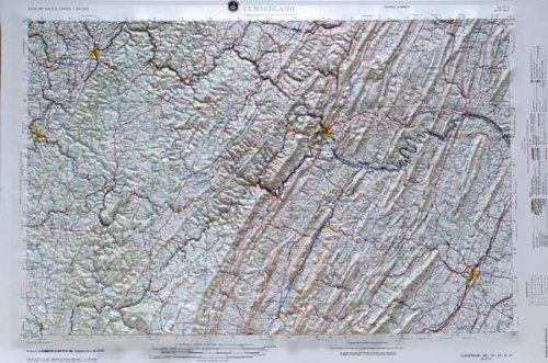 CUMBERLAND REGIONAL Raised Relief Map in the states of Maryland, Pennsylvania, and West Virginia with OAK WOOD Frame
