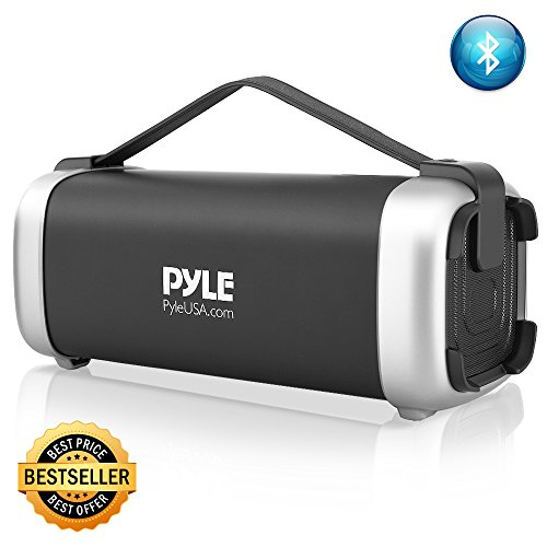 Speaker System 200w - Pyle PBMSQG12 Compact & Portable Bluetooth Wireless Speaker with Built-in Rechargeable Battery MP3/USB/Micro SD Readers FM Radio