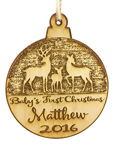 Collectible 1st - Wedding Collectibles Personalized Baby's First Christmas Ornament (2018) Boy and Girl Tree Hanging Decoration | 1st Collectible Keepsake and Heirloom | Babies, Infants, Newborns | Vintage Birchwood Cr