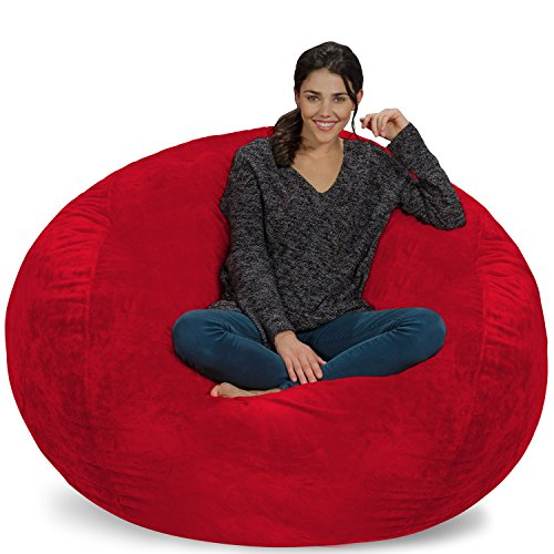 Chill Sack Bean Bag Chair: Giant Memory Foam Furniture Bags and Large Lounger - Big Sofa with Huge Water Resistant Soft Micro Suede Cover - Red Furry, 5 feet
