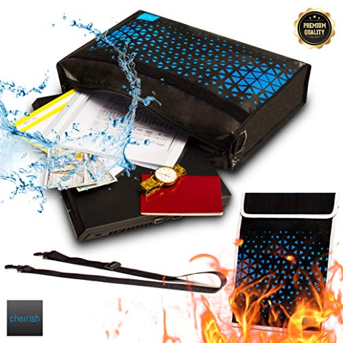 Non Waterproof Box (Fireproof Document Bags Set of 2 - Non Itchy Silicone Coated Fiber Glass Waterproof Money Bag for Cash - Jewelry Fire Proof Box Envelope)