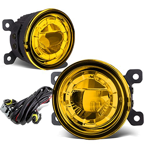 Pair of 3.5 inches Round 2 x 5W LED Projector Bumper Driving Fog Lights + Wiring (Amber Lens)