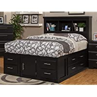 Sandberg Furniture Serenity 12-Drawer Ultimate Storage Bed, Queen, Black
