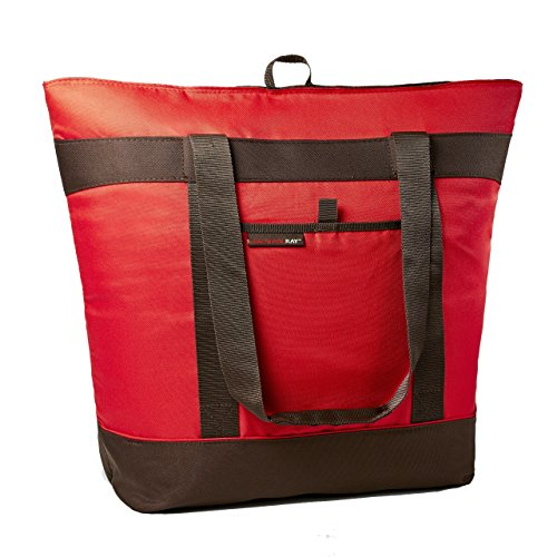 Rachael Ray Jumbo ChillOut Thermal Tote, XL Insulated Bag for Grocery Shopping/Entertaining, Transport Hot and Cold Food, Red by Rachael Ray