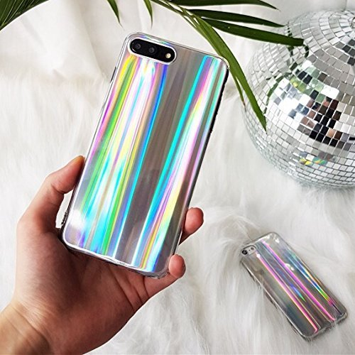 Colorful Protective Case (Pikalanary Phone 7 Plus/8 Plus Case Psychedelic Rave Holographic Iridescent Sparkle Bling Glitter Shiny Cover With Laser Beam [Extra Thin Soft TPU Protective Case] (Colorful, iPhone 7 Plus / 8 Plus))