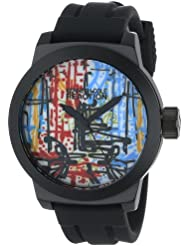 Kenneth Cole REACTION Mens RK1251 Street Collection Round Analog Custom Graphic Silicone Watch