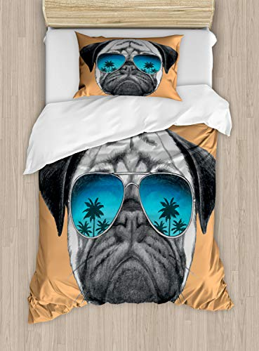 Ambesonne Pug Duvet Cover Set, Dog with Reflecting Aviators Palm Trees Tropical Environment Cool Pet Animal, Decorative 2 Piece Bedding Set with 1 Pillow Sham, Twin Size, Orange Black