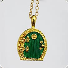 Green Hobbit Locket Necklace- Hobbit Hole Door - Lord of the Rings Middle Earth, Shire Inspired Pendant- Nerd Jewelry Geek Gift Lotr Tolkien
