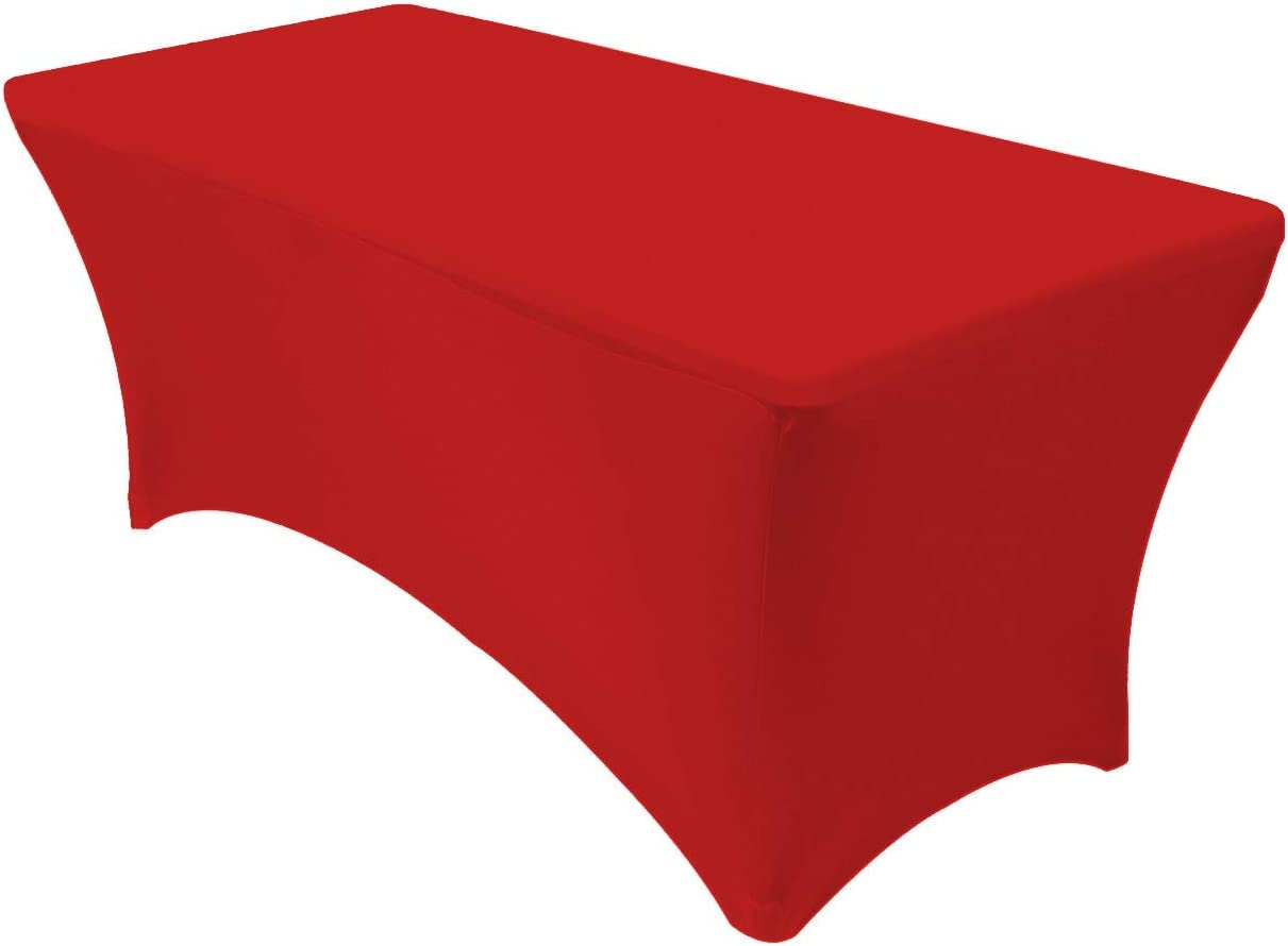"""Your Chair Covers - Stretch Spandex 6 ft Rectangular Table Cover - Red, 72"""" Length x 30"""" Width x 30"""" Height Fitted Tablecloth for Standard Folding Tables,Party Table Cloth"""