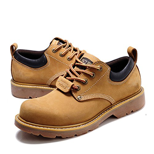 LEDLFIE Chaussures pour Hommes Casual Coupe Basse Chaussures en Cuir Martin Chaussures Kaki uySM2