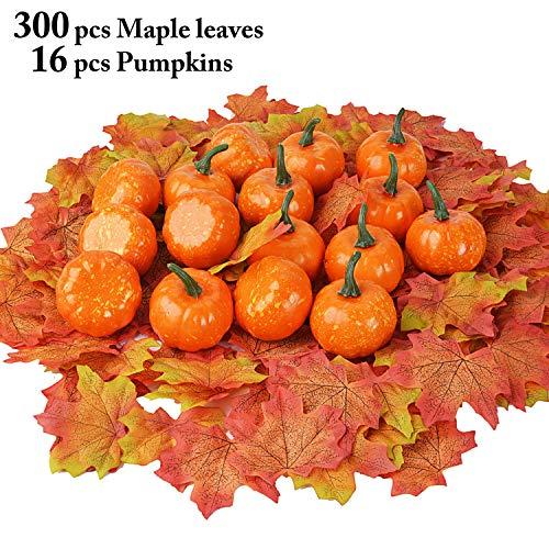 Outgeek Artificial Pumpkin and Maple Leaves 300 Pcs