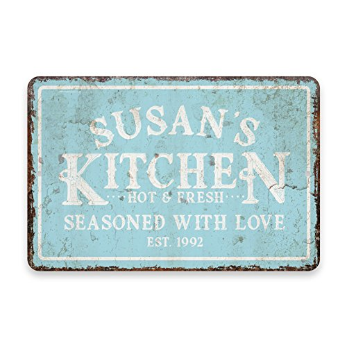 Personalized Vintage Distressed Look Mint Kitchen Seasoned w