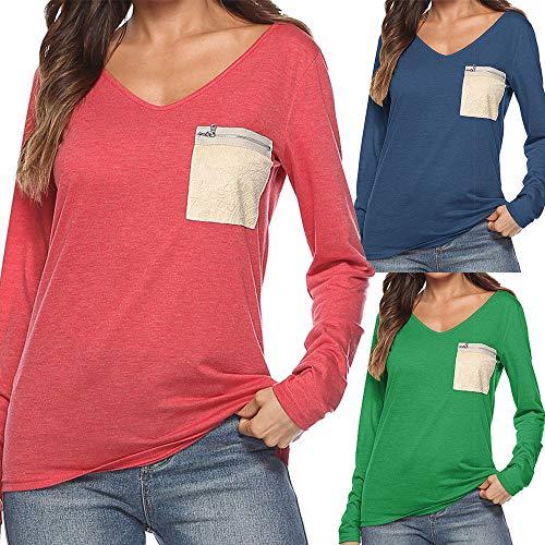 Donna Cappuccio Camicetta Felpe Felpa Shirt Tasca Tumblr Girocollo Blu Elegante Lunghe Weant Magliette Top T Pullover Maniche Camicia Maglietta Haq8n6x5wZ