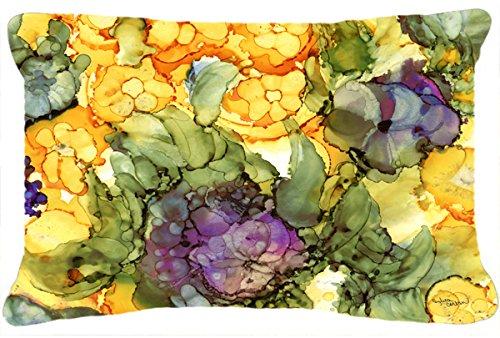 Caroline s Treasures Abstract Flowers Purple Yellow Fabric Decorative Pillow, 12 x 16 , Multicolor