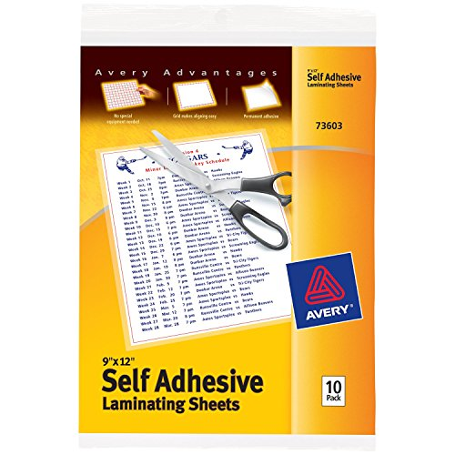 "Avery Self-Adhesive Laminating Sheets, 9"" x 12"", Permanent Adhesive, 10 Clear Laminating Sheets (73603)"