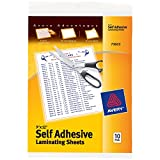 Avery Clear Self-Adhesive Laminating Sheets, 3 mm, 9 x 12-Inch, 10 Sheets Per Pack, Laminates 5-1 Page Documents (73603)