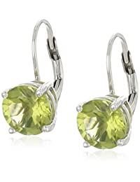 Sterling Silver Round Peridot Earrings with Lever Backs