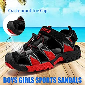JMFCHI Boys Girls Sports Sandals Summer Kids Closed Toe Outdoor Sandals Athletic Water Shoes Sandals Child Pool Beach…