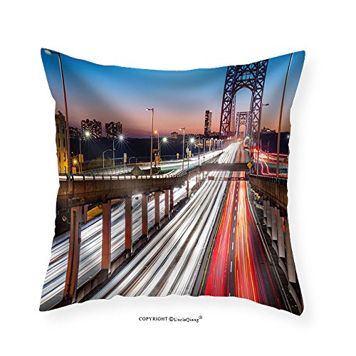 French Rush Seat Bench (VROSELV Custom Cotton Linen Pillowcase Rush Hour Traffic with Light Trails on George Washington Bridge in New York City - Fabric Home Decor 16