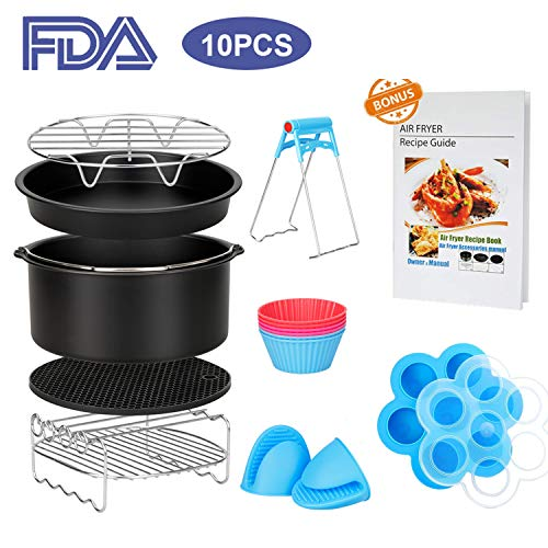 10 Pcs Air Fryer Accessories with Recipe Cookbook for Growise Phillips Cozyna Fits All 3.2QT - 5.8QT Air Fryer, 7in Deep Fryer Accessories