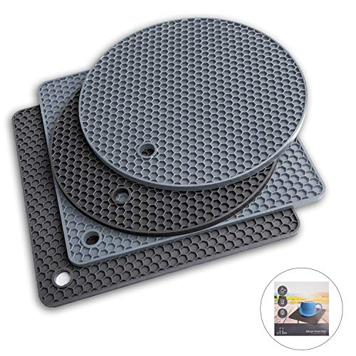 Potholders and Silicone Trivet Mats. Our 7 in 1 Multi-Purpose Kitchen Tool is Heat Resistant to 440°F, Non-slip,durable, flexible easy to wash and dry. 4 Pot Holders By Q