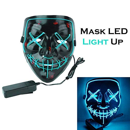 (Acrim Mask LED Light Glow Scary Multicolor Cosplay Costume Hallowwen Frightening for Parties, Festival, Club, Toys - 8 Colors (Light)