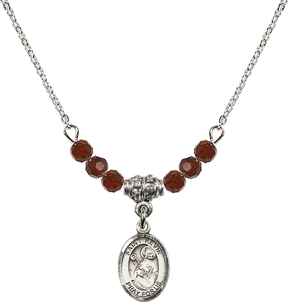 Bonyak Jewelry 18 Inch Rhodium Plated Necklace w// 4mm Red January Birth Month Stone Beads and Saint Kevin