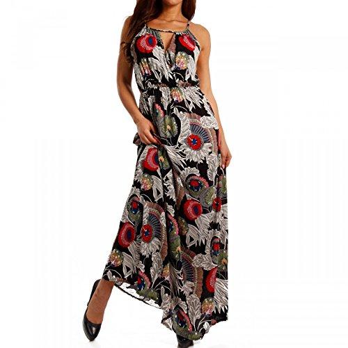 Young-Fashion - Vestido - Con cortes - Floral - Sin mangas - para mujer Mehrfarbig/Model3