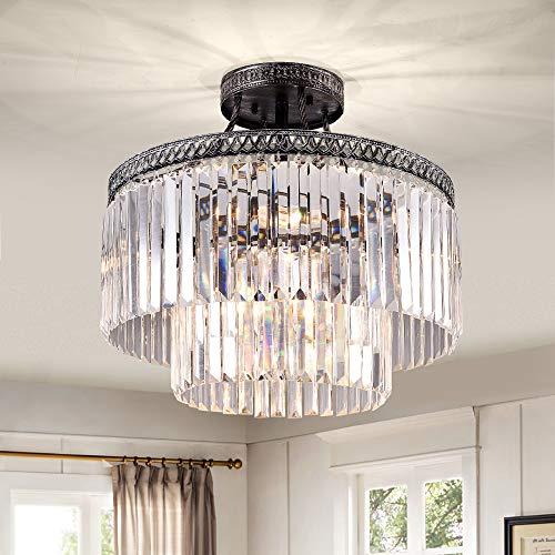 Zgear 6 Lights Antique Sliver Luxury Modern Contemporary Crystal Chandelier Ceiling Light Pendant Light for Dining Room, Living Room 6 Lights-Flush Mount