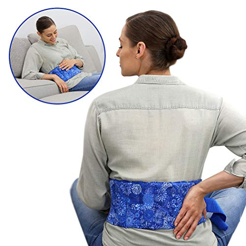 Menstrual Cramps Reliever - Heating Pad for Cramps, Stomach - Back Pain Relief-Stress Reducer - Aromatic, Microwavable, Reusable by Nature Creation (Blue Flowers)