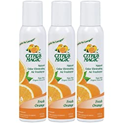 Citrus Magic 3-Pack Natural Odor Eliminating Air Freshener Spray, Fresh Orange, 3.5-Ounce