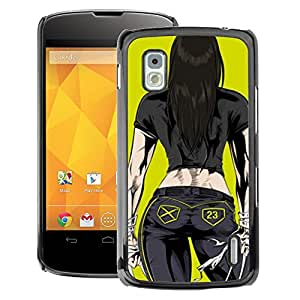 A-type Arte & diseño plástico duro Fundas Cover Cubre Hard Case Cover para LG Nexus 4 E960 ( Chick Babe Yellow Cartoon)