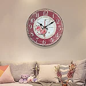 Komo silencioso Moderno Decoración Adorno para Hogar Gas invasiva Simple Tabla de Pared Retro Reloj de Cuarzo de Gran Reloj de Pared Reloj,12 Pulgadas, Rojo
