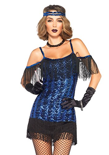 Leg Avenue Women's Gatsby Flapper Costume, Blue/Black,