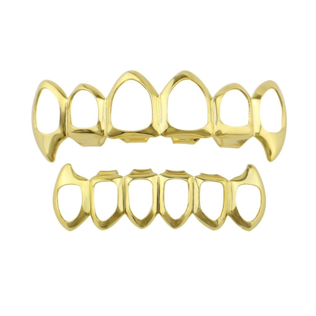 Clearance Sale! Hiphop Grillz Teeth, Iuhan Hip Hop Teeth Grillz Top Bottom Mouth Teeth Grills Fashion Removable Dental Grills Jewelry (Gold)