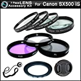 Essential 7 Piece Filter Kit Bundle For Canon PowerShot SX500 IS, SX500is Digital Camera Includes Necessary Ring Adapter (67mm) + 67mm Multi-Coated 3 PC Filter Kit (UV, CPL, FLD) + Close Up Kit +1 +2 +4 +10 + Snap-On Lens Cap + lens Cap Keeper + More