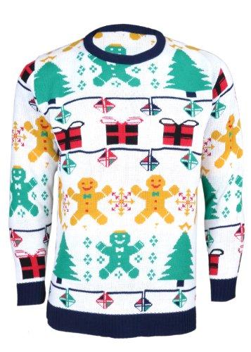 Hommes Unisexe Pull Noël Blanc Gingerbread Femmes De Man Maille Noroze En FHB7q5F