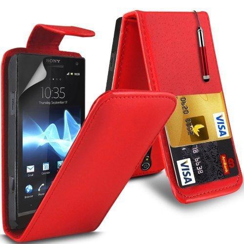 Sony Xperia S Lt26i Leather Flip Case Cover (Rojo) Plus de regalo libre, Protector de pantalla y un lápiz óptico, Solicitar ahora mejor caja del teléfono Valorado en Amazon! By FinestPhoneCases