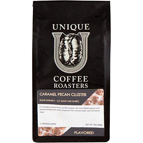 Caramel Pecan Flavored Ground Coffee, 1 LB (16 oz) bag, Medium Roast, 100% Arabica Premium Quality Flavor (Pecan Flavored Coffee)
