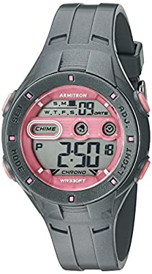 Armitron Sport Women's 45/7067SGY Pink Accented Digital Chronograph Grey Sparkled Resin Strap Watch
