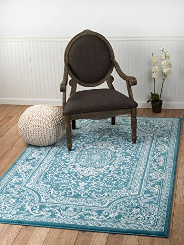 New Summit Elite S62 Blue and White Rug Antuque Style Tone on Tone 8X11 Actual Rug Size is 7 4 X 10 .6