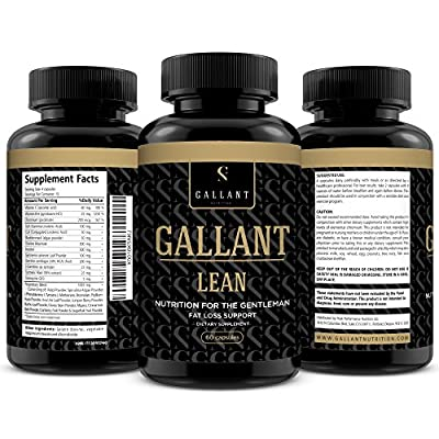 GALLANT LEAN - Thermogenic Caffeine Free Fat Burner - Low Calorie Weight Loss Supplement For Men - Helps To Suppress Appetite & Provide An Energy Surge For Workouts - With Turmeric Root & CLA