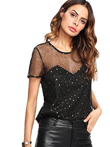 WDIRA Women's Star Glitter Sheer See Through Mesh Overlay Top Tee Blouse Black L (Print Top Glitter)