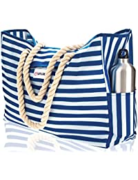 """Beach Bag XXL (HUGE). 100% Waterproof. L22""""xH15""""xW6"""". Cotton Rope Handles, Top Magnet Clasp, Two Outside Pockets. Blue Stripes Shoulder Beach Tote has Phone Case, Built-In Key Holder, Bottle Opener"""