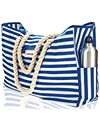 ShyLero Beach Bag. 100% Waterproof. L17 xH15 xW6 with Coton Rope Handles Top Magnet Clasp Two Outside Pockets. Blue Stripes Shoulder Beach Tote Includes Phone Case Built-In Key Holder and Bottle Opener