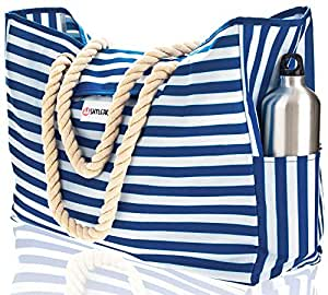 """Beach Bag XL. 100% Waterproof. L17""""xH15""""xW6"""" (43x38x15cm) w Rope Handles, Top Magnet Clasp, Outside Pockets. Blue Stripes Shoulder Beach Tote Includes Phone Case, Built-in Key Holder, Bottle Opener"""