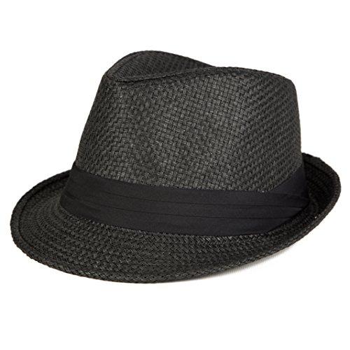 Men's Short Brim Straw Fedora Cuban Hat (S/M, (Straw Trilby Hat)